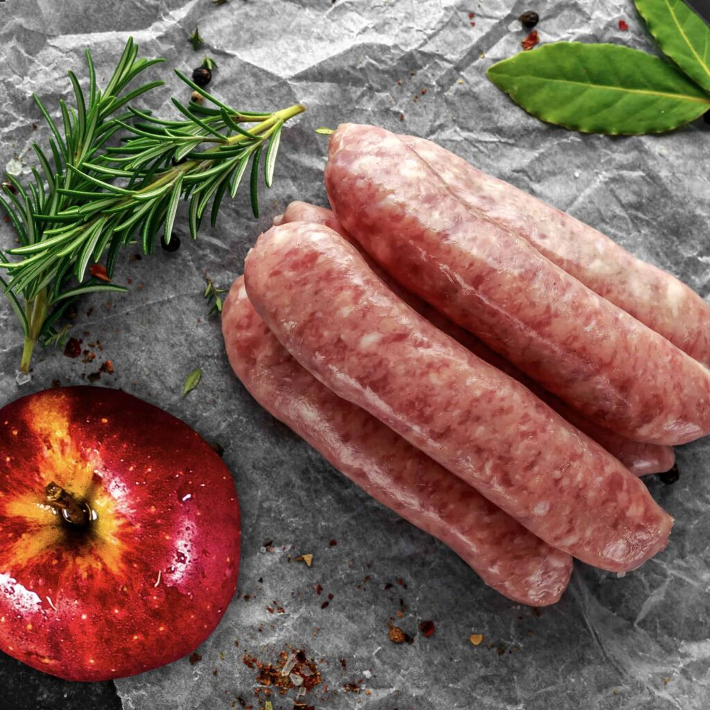 Wiltshire Bacon Pork and Apple sausages