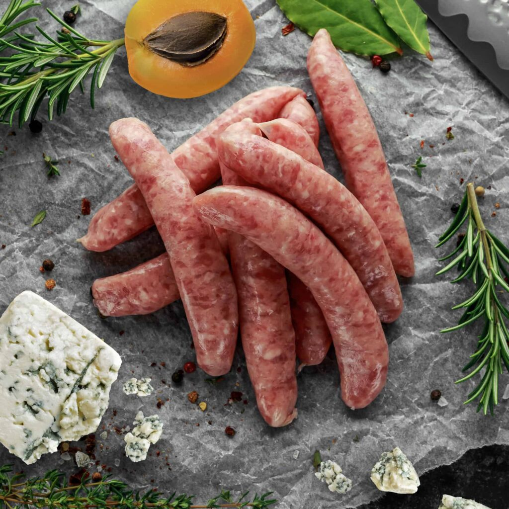 Pork Stilton and Apricot Sausages